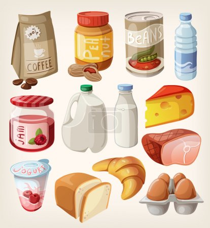 Illustration for Collection of food and products that we buy or eat every day. - Royalty Free Image