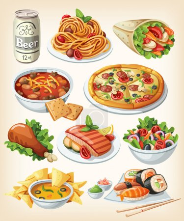 Set of traditional food icons....
