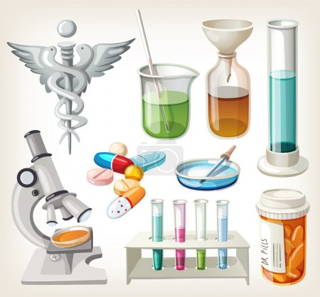 Illustration for Set of supplies used in pharmacology for preparing medicine. - Royalty Free Image