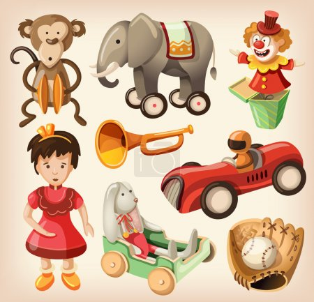 Illustration for Set of colorful vintage toys for kids. EPS10 - Royalty Free Image