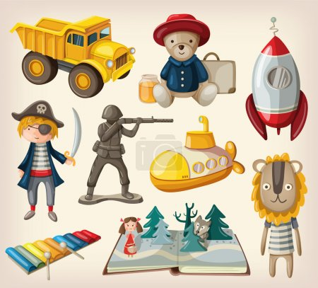 Illustration for Set of old-fashioned toys - Royalty Free Image