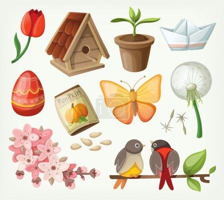 Illustration pour Ensemble d'articles de printemps. Vecteur - image libre de droit