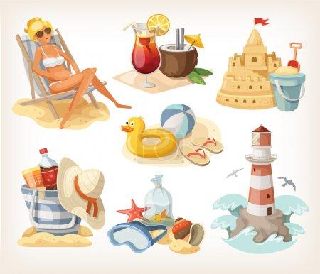 Set of summer beach elements