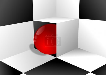 Black and white background and red ball