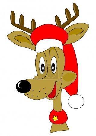 Photo pour Rennes de Noël avec un chapeau rouge comme illustration - image libre de droit