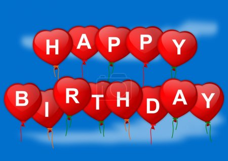 Happy birthday wish inflatable heart on blue background