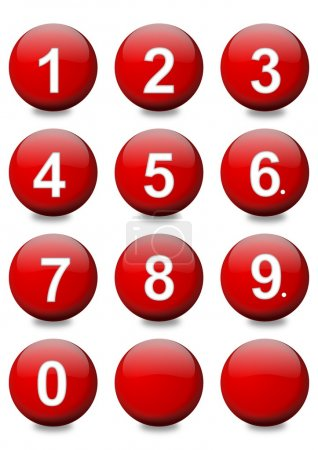 Red balls with white numbers