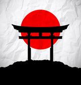 Japan flag as sunrise with japan gate