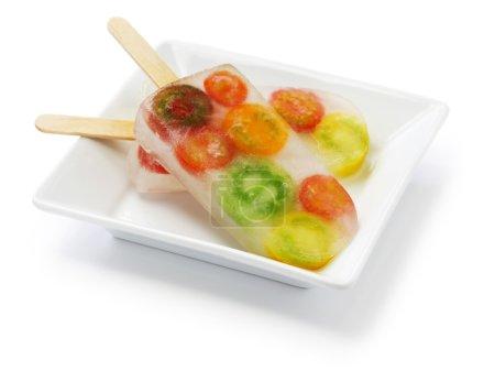 Veggie ice pop, colorful cherry tomatoes