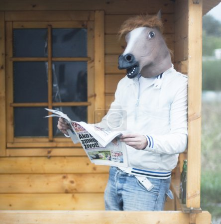 Man in horse mask