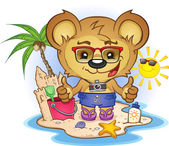 A teddy bear vacationing on the beach with toys and sea life giving the thumbs up