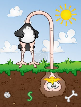 Ostrich With His Head In The Ground Cartoon Character