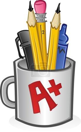 Mug of Pencils Pens Crayons and Markers Cartoon