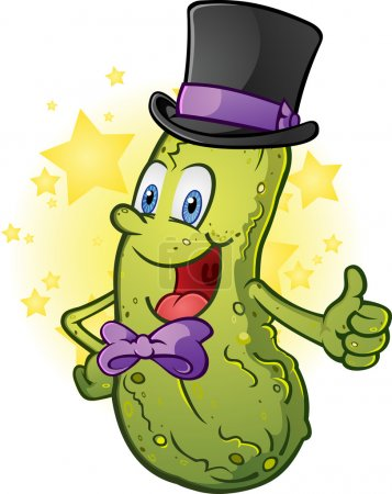 Illustration for A gentleman pickle cartoon character wearing a top hat and a bow - Royalty Free Image
