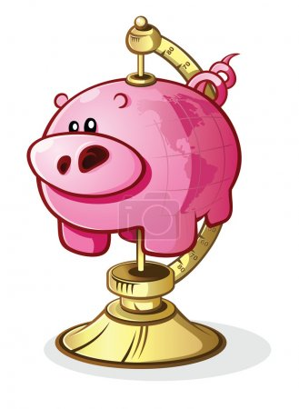 Illustration for A piggy bank with a world map printed on it's side connected to a globe stand, signifying world wide finance and currency exchange, or saving up for world travel - Royalty Free Image