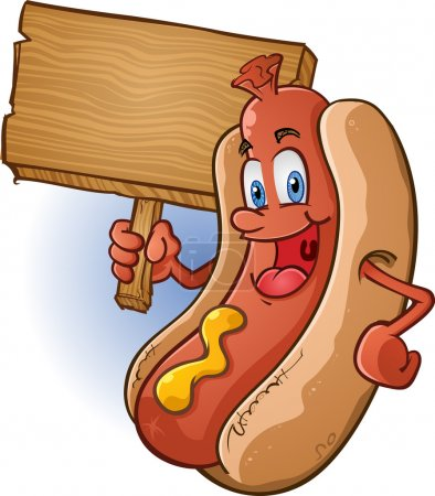 Hot Dog Cartoon Holding a Sign