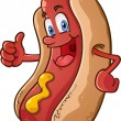 A cheerful hot dog character giving a thumbs up ge...