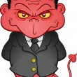An evil, shifty eyed business con man wearing a su...