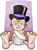 Cute New Years Eve Baby Cartoon Character in a Top Hat