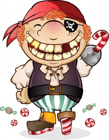 Illustration for A smiling child in a pirate costume made of candy, a creative halloween costume for a night of trick or treat - Royalty Free Image
