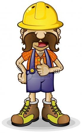 Illustration pour Un travailleur de la construction ou un entrepreneur personnage de dessin animé, portant des salopettes, de la flanelle et un casque dur, donnant les pouces vers le haut de l'approbation - image libre de droit