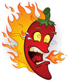 Flaming Hot Chili Pepper Cartoon Character