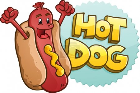 Hot Dog Cartoon Character With Emblem and Illustrated Lettering