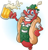 A hotdog bratwurst cartoon character wearing traditional bavarian lederhosen and drinking a large mug of beer ready for Oktoberfest!