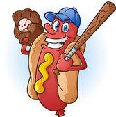 Hot Dog Baseball Cartoon Character
