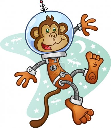 Illustration for A monkey astronaut wearing a space suit and helmet, floating in zero gravity in front of a retro space background - Royalty Free Image
