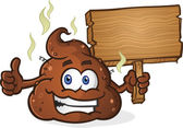 Poop Pile Cartoon Character Thumbs Up and Holding Sign