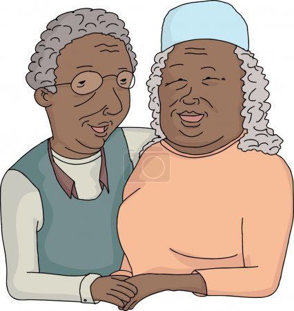 Smiling Elderly Couple Cartoon