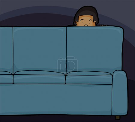 Child Looking Over Sofa