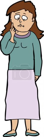 Illustration for Cartoon of befuddled young woman on isolated background - Royalty Free Image