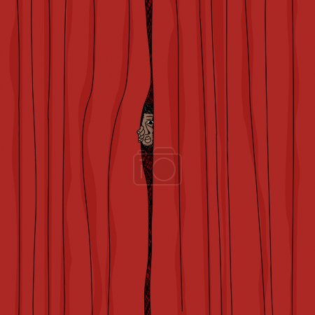 Peeking From Curtain