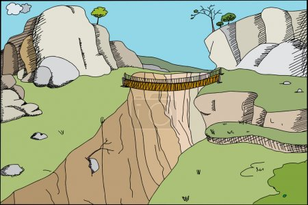 Illustration for Hand drawn cartoon footbridge across canyon in wilderness - Royalty Free Image