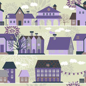 Seamless pattern with houses trees and hand drawn elements vector illustration