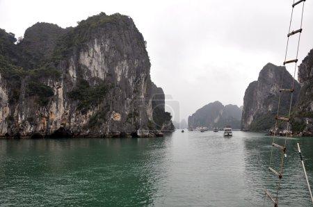 Limestone islands in the sea, Halong Bay, Vietnam