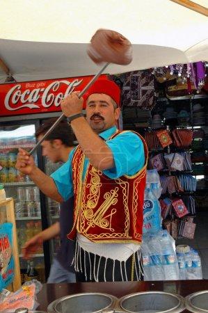 Ice cream seller in Istanbul, Turkey
