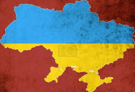 Photo for The map and the flag of Ukraine on a red background - Royalty Free Image
