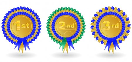 Illustration for Illustration of 1st, 2nd and 3rd place award ribbons isolated - Royalty Free Image