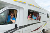Family vacation, travel by camper