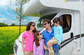 Family vacation, travel in camper
