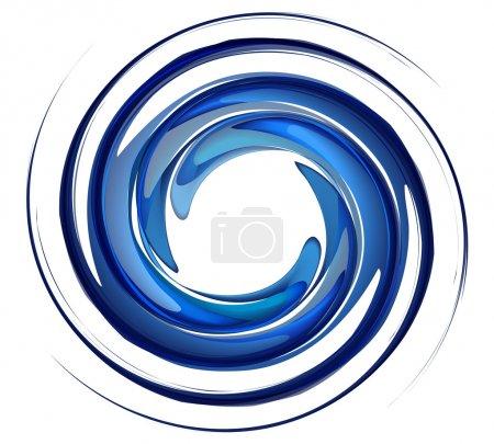 Illustration pour Vortex d'eau isolé sur fond blanc, eau de rotation bleue, vecteur tourbillon, éclaboussure d'eau en forme ronde . - image libre de droit