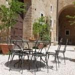 Garden furniture on italian backyard, Urbino, Marc...