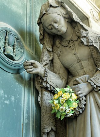 Suffering woman with flowers
