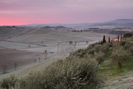 Fantastic dawn over tuscan hills