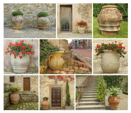 Collage with old style garden pottery
