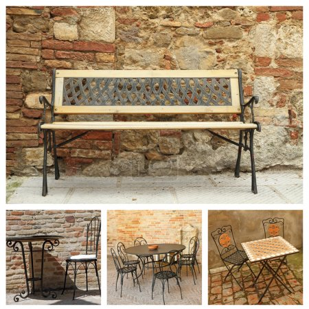 Collage with classic garden furniture