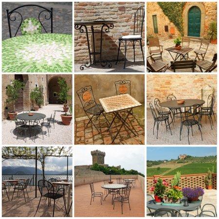 garden furniture collection on italian terraces, Italy, Europe